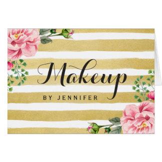 Makeup Artist Beauty Salon Floral Gold Stripes Note Card