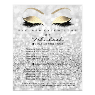 Makeup Artist Beauty Salon Gold Glitter Flyer Gray