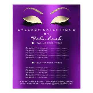 Makeup Artist Beauty Salon Gold Glitter Flyer Plum