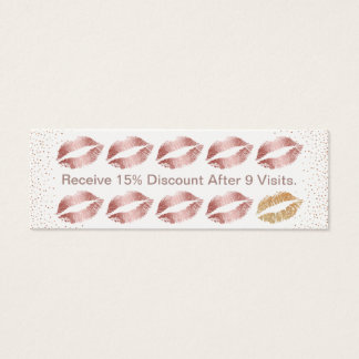Makeup Artist Beauty Salon Rose Gold Lips Loyalty Mini Business Card