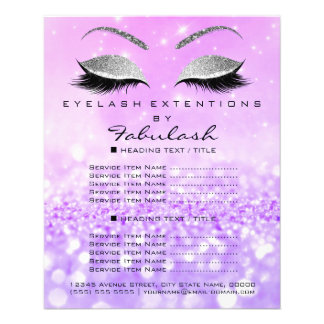 Makeup Artist Beauty Salon Silver Glitter Lavanda3 Flyer