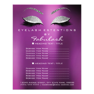 Makeup Artist Beauty Salon Silver Glitter Lavanda Flyer