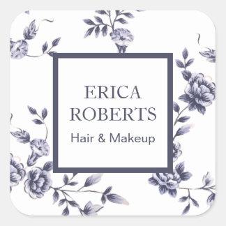 Makeup Artist Beauty Salon Vintage Blue Floral Square Sticker