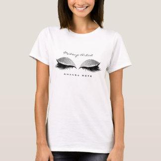 Makeup Artist Beuty Lashes Silver Black Glitter T-Shirt