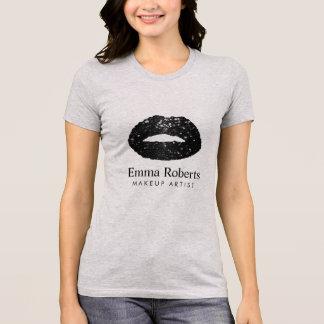 Makeup Artist Black Glitter Lips Modern Salon T-Shirt