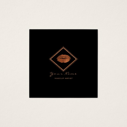 Makeup Artist Black Lips Copper Rose Gold Frame Square Business Card