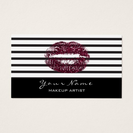 Makeup Artist Black White Stripes Lips Burgundy Business Card