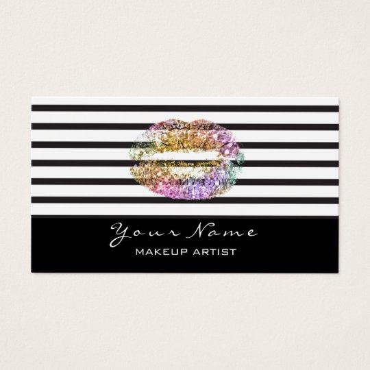 Makeup Artist Black White Stripes Lips Gold Pink Business Card