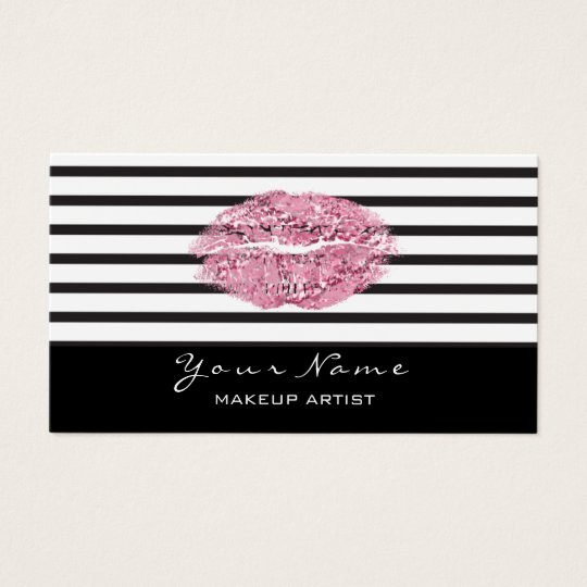 Makeup Artist Black White Stripes Lips Pink Glitte Business Card