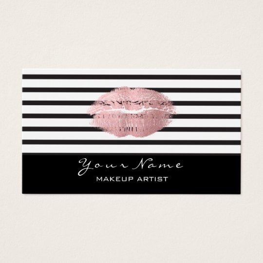 Makeup Artist Black White Stripes Lips Rose Gold Business Card