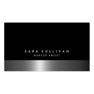 Makeup Artist Bold Dark Chrome Business Card Business Card Template