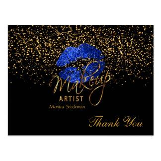 Makeup Artist  Bright Blue Lips on Black Postcard