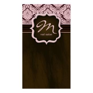 Makeup Artist Business Card Damask Pink Brown