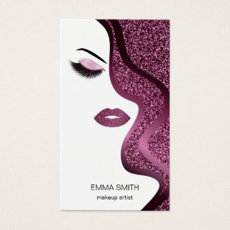 Makeup artist business card with glitter effect