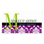 Makeup Artist Business Cards Purple Damask
