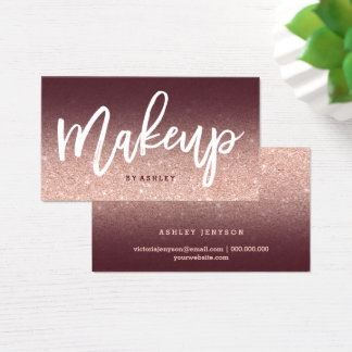 Makeup artist chic typography burgundy rose gold business card