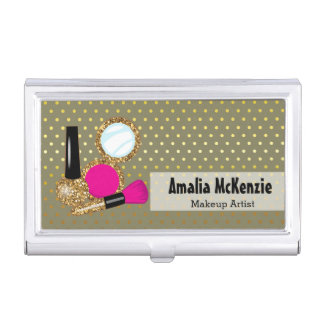 Makeup artist - choose background color case for business cards