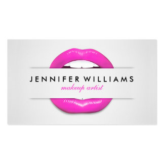 Makeup artist cool pink lips gray texture modern pack of standard business cards