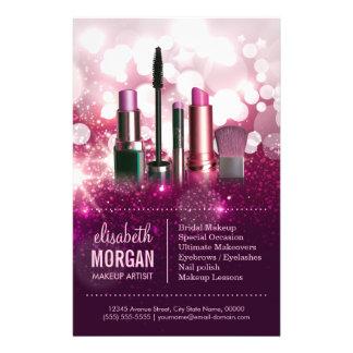 Makeup Artist Cosmetician - Pink Beauty Glitter 14 Cm X 21.5 Cm Flyer