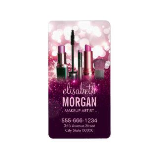 Makeup Artist Cosmetician - Pink Beauty Glitter Address Label