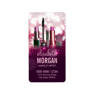 Makeup Artist Cosmetician - Pink Beauty Glitter Label