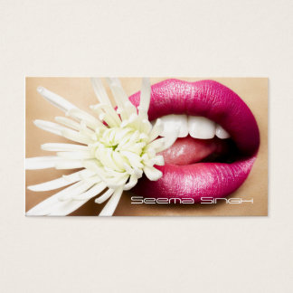 Makeup Artist cosmetics lips white flower Business Card