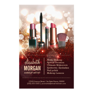 Makeup Artist Cosmetologist Shiny Glitter Sparkle 14 Cm X 21.5 Cm Flyer