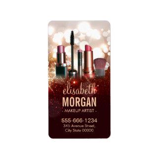 Makeup Artist Cosmetologist Shiny Glitter Sparkle Address Label