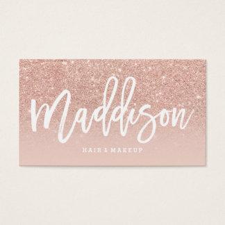 Makeup artist custom typography blush rose gold business card