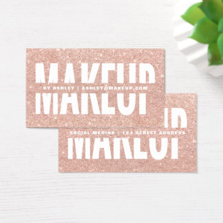 Makeup artist cut out typography rose gold glitter business card