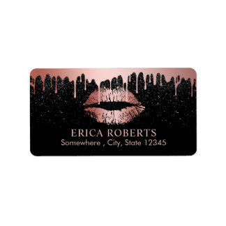 Makeup Artist Dripping Rose Gold Lips Beauty Salon Address Label