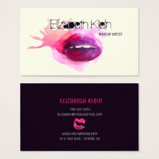 Makeup Artist Edgy Watercolor Lips Business Card