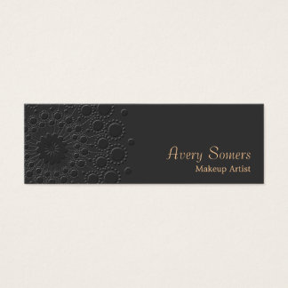 Makeup Artist Elegant Faux Embossed  Black Mini Business Card