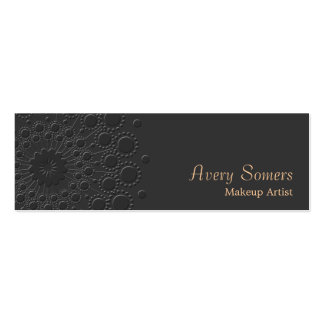 Makeup Artist Elegant Faux Embossed  Black Pack Of Skinny Business Cards