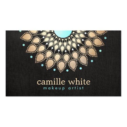Makeup Artist  Elegant Gold Ornate Logo Black Business Card Template