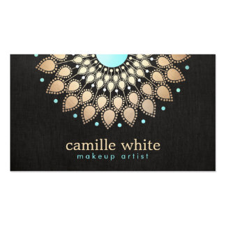 Makeup Artist Elegant Gold Ornate Motif Black Business Card Template