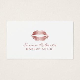 Makeup Artist Elegant Rose Gold Lips Salon Business Card