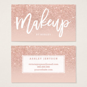 Makeup artist business cards business card printing zazzle makeup artist elegant typography blush rose gold business card reheart Choice Image