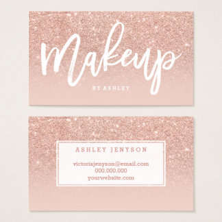 Makeup artist elegant typography blush rose gold business card