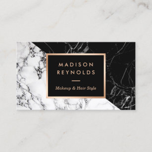 Makeup artist business cards zazzle au makeup artist fashionable mixed black white marble business card reheart Gallery