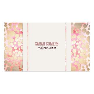 Makeup Artist Faux Gold Leaf Circle Pattern Pink Pack Of Standard Business Cards