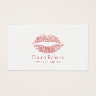 Makeup Artist Glitter Rose Gold Lips Minimal Salon Business Card