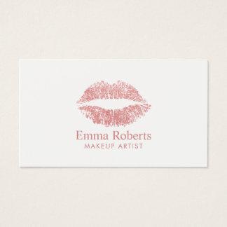 Makeup Artist Glitter Rose Gold Lips Minimal Salon Business Card