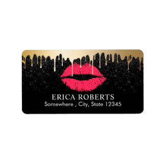 Makeup Artist Gold Drip Red Gold Lips Beauty Salon Address Label
