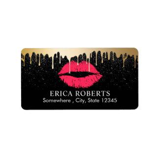 Makeup Artist Gold Drip Red Gold Lips Beauty Salon Label