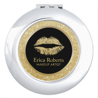 Makeup Artist Gold Glitter Lips Modern Salon Vanity Mirror