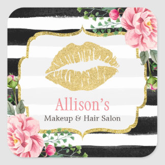 Makeup Artist Gold Lips Blush Pink Floral Stripes Square Sticker
