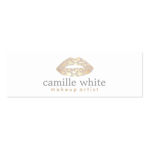 Makeup Artist Gold Lips Mini Business Cards