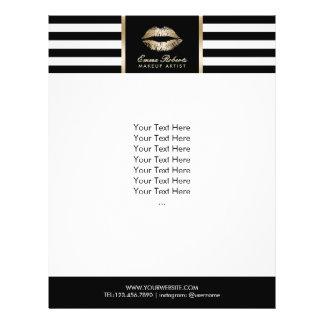 Makeup Artist Gold Lips Modern Stripes Salon 21.5 Cm X 28 Cm Flyer