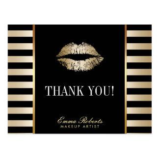 Makeup Artist Gold Lips Modern Stripes Thank You Postcard